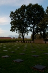 Tombstones in a German cemetery towards sundown