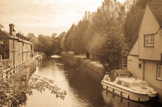The River Lea, Hertford, sepia tones