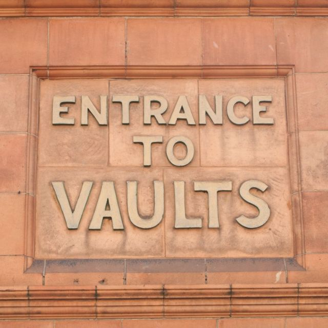 """Entrance to vaults"" sign, Hertford"