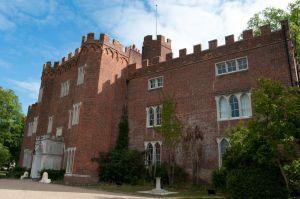 Hertford Castle against a blue sky