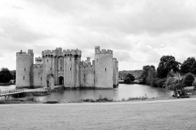 Bodiam Castle surrounded by its wide moat