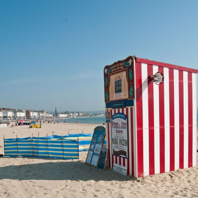 Punch and Judy theatre on a sunny beach