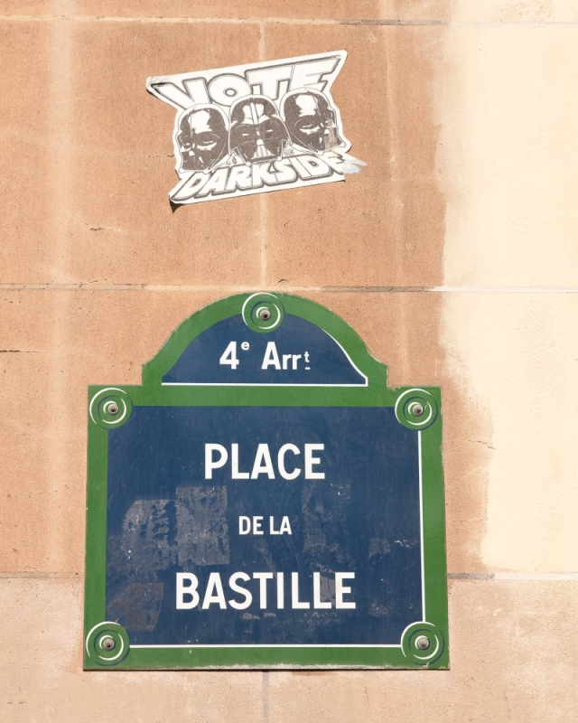 Street sign and street art at Place de la Bastille