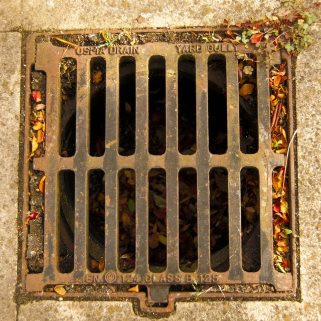 View looking down onto a grilled drain cover